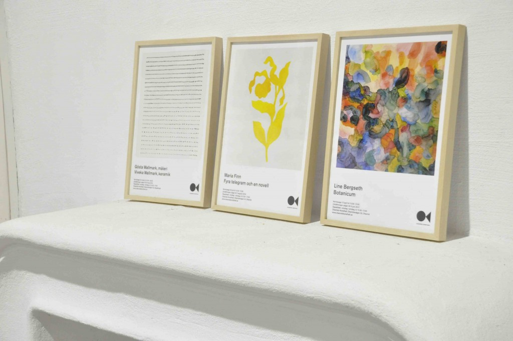 The posters from the exhibitions at the Olseröds Konsthall.