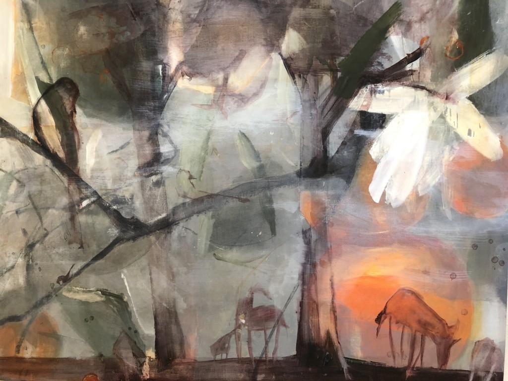 Under Orange Tree, 2019, akryl på duk, 142x182 cm. pris 23.000:- sek
