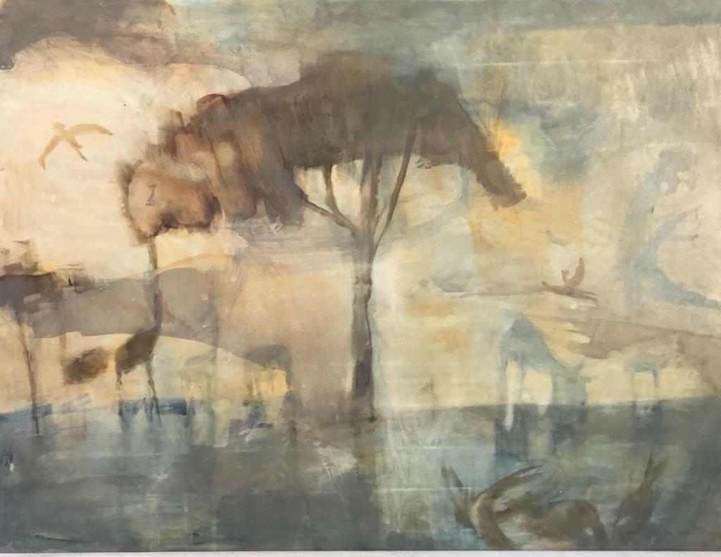 Puu (Tree), 2019, akryl, 199x147 cm. Pris 25.000:-