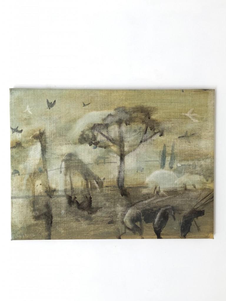 Savann, 2019, akryl, 41x55 cm. Pris 5.000:-