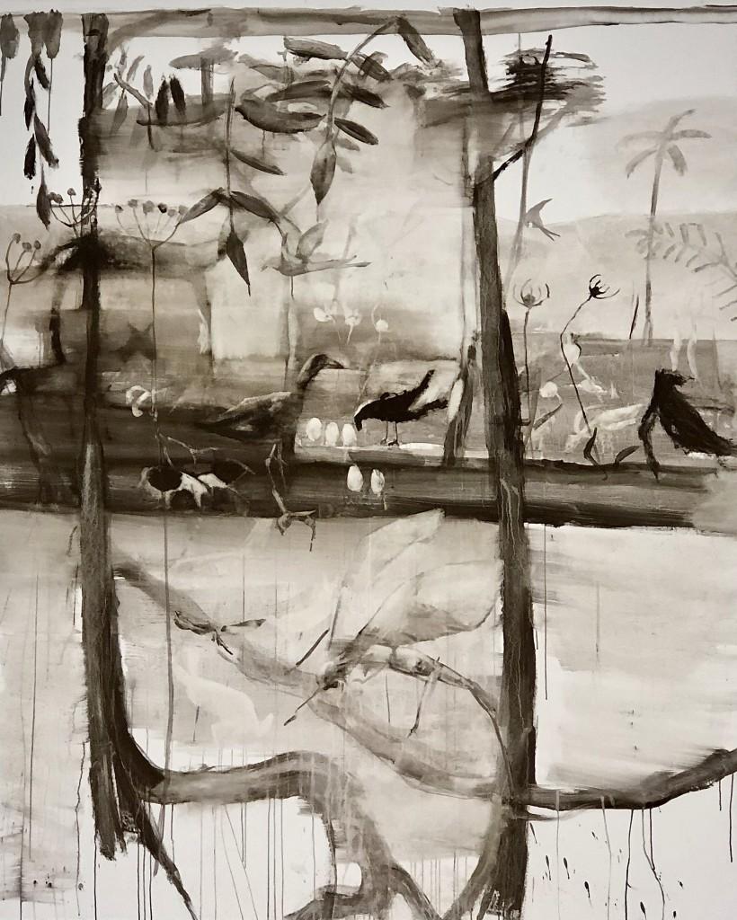 Jungle, 2019, äggolje tempera, 244 x 198 cm. Pris 40.000:-