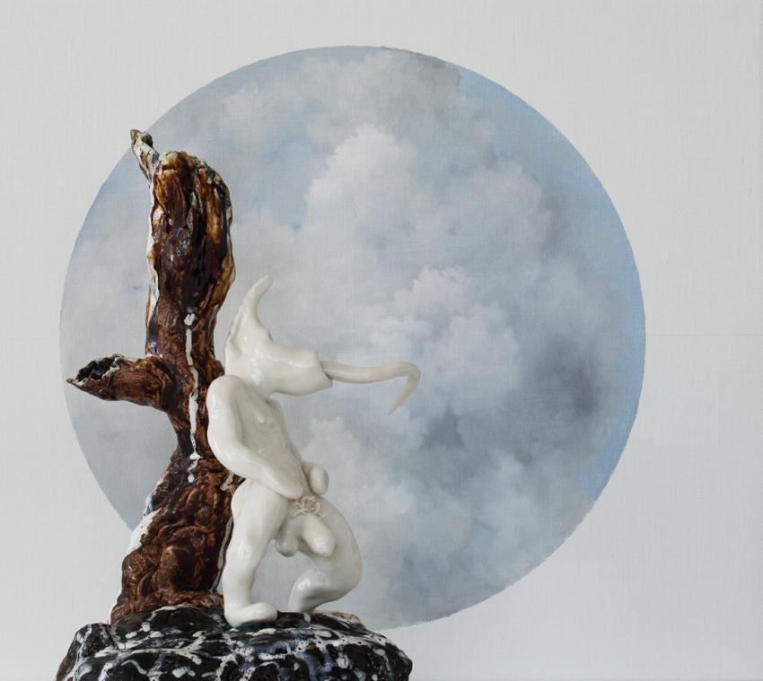 Vernissagekort för utställningen Paraphernalia-Jakob Solgren & Gustaf Nordenskiöld. Form: Gabor Palotai Design.