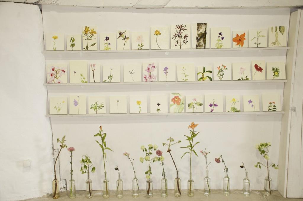 Line Bergseth-Blomsterporträtt, installationsbild. 3000:- styck. Målningarna är c. 20 x 20 cm.